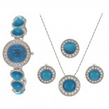 Charles Delon For Women Blue Dial Metal Band Watch & Jewelry Set - 4574 LPLL